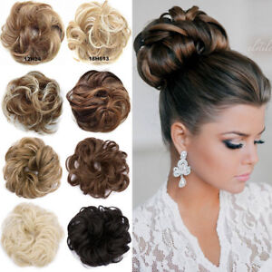 Real Soft Curly Messy Bun Hair Piece Scrunchie 100% Natural Hair Extensions US