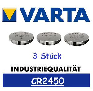 3x Varta CR2450 Batterien Knopfzellen Knopfzelle Frische Markenware