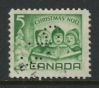 Perfin C34-CPR (Montreal QC): Scott 477, 5c 1967 Christmas Carolling, Position 4
