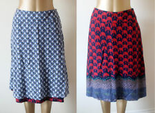 White Stuff Blue Red Ditzy Floral Reversible Soft Knee/Midi Skirt SIZE UK 10