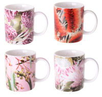 Australian Flora Coffee Mugs Tea cup gum nut waratah red bottlebrush protea gift
