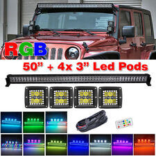 """50"""" inch Off-road Truck LED Light Bar +4x 3"""" Pods w/ Remote Chasing RGB Halo Kit"""