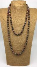 Free shipping Fashion long knot leopard skin jasper stone beads necklace jewelry