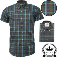 Relco Mens Green Check Short Sleeve Shirt Button Down Collar Mod Skin Tartan NEW