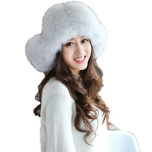 Women Winter Fur Hat Earflap Cap Real Fox Warm Earmuffs Hat Waterproof Cloth