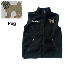 Pug Dog Fleece Vest with Zippers Personal Name Stitched Monogrammed