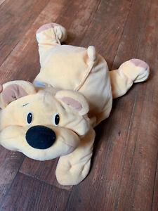"Vintage 1993 Fisher Price Rumple Bear Honey Floppy Yellow Plush Black Nose ~17"""