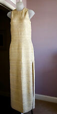 ST JOHN Gold Formal Evening Long Sequined Slinky Shimmery Knit Gown Dress