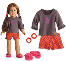 NEW American Girl Doll SAIGE PAJAMAS OUTFIT Short PJS Slippers & Hair Ties BOX