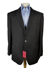 $1395 NWT LUIGI BIANCHI Black Double Beaded Pinstripe Wool Suit 46R 48R ITALY