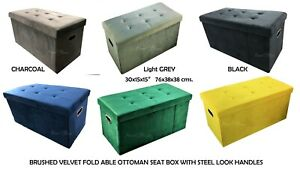 Brushed Velvet foldable Storage Ottoman with steel look handles