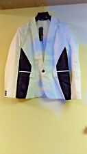 Zicac Men's Fashion Slim Fit One-button Suit Color Matching Blazer  XL White
