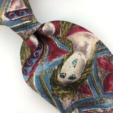 SECOURS USA TIE Woman Statue Abstract Blue/Olive/Beige Silk Men Necktie N4- 347
