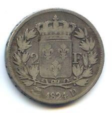 Louis XVIII (1815-1824) 2 Francs 1824 D Lyon