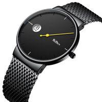 Biden Simple Watch Men Waterproof Quartz Stainless Steel Mesh Strap Wrist Watch