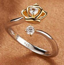 Ring größenverstellbar 925 Silber Gold Bicolour  Krone Strass Edel-Stein elegant