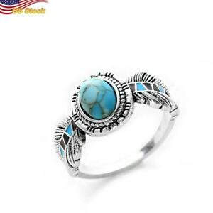 Boho Leaf 925 Silver Plated Round Cut Blue Turquoise Ring for Women 6-10