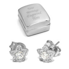 Solid Silver Stud Earrings Diamante Flower Shape Optional Personalised Gift Box