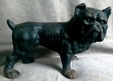 Vintage Black Bulldog Cast Iron Bank Metal Figurine Dog Statue
