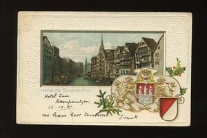 Germany HAMBURG Deichstrasse-Fleet Heraldic embossed used 1901 u/b PPC