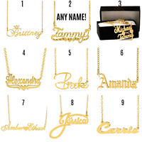 Personalized Sterling Silver 14KGold Any Name Plate Script Chain Necklace
