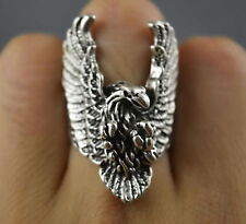 Collection Handwork Old Miao Silver Carve Hunting Eagle Exorcism Auspicious Ring