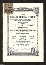 """George Gershwin """"OF THEE I SING"""" Oscar Shaw / Pulitzer Prize 1932 Chicago Ticket"""
