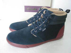 NEW CLARKS TORBAY ARTIC HI TOP SOFT SUEDE TRAINERS BOOTS size 9.5