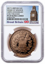 2017 Great Britain Centenary House Windsor Gold Proof £5 NGC PF69 UC ER SKU47952