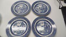 "CHURCHILL BLUE WILLOW Set of 4 Salad Plates Staffordshire England 8"""