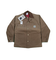 NOS Vtg 90s Carhartt Mens 38 Spell Out Quilt Lined Coat Jacket Duck Brown USA