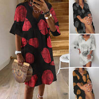 UK Womens Summer Short Sleeve Sundress Casual Loose Printed Shirt Dress Pullover