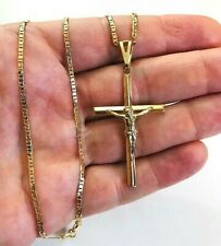 "18K gold filled Cross Jesus necklace 18"" /Cadena de Cruz Proteccion 18""- P2076"