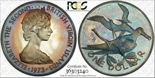 1973-FM BVI SILVER $1 ONE DOLLAR PCGS PR66DCAM COLOR TONED COIN IN HIGH GRADE