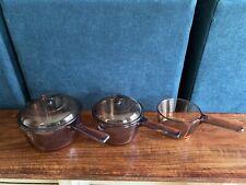 Vintage Corning Ware Vision Amber Cookware .7 L 1 L 1.5 L Sauce Pans Usa France