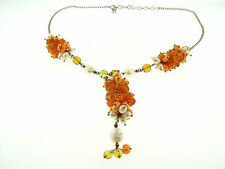 Sterling Silver FW Pearl Carnelian & Glass Multi Chunky Cluster & Drop Necklace