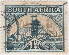 (RSA147)1933SouthAfrica1½d green&gold goldmine(South)B)