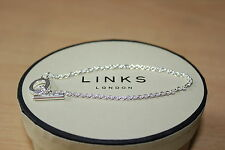 Genuine Links Of London Sterling Silver 18 Cm T Bar Charm Bracelet Gift Boxed