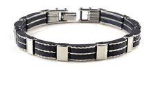 Bracelet pour homme articulé tendance Acier et silicone elastomère noir Neuf