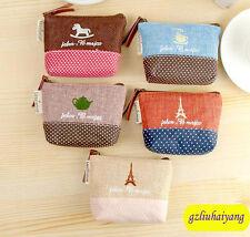 B735 Paris Women's linen Classical Change purse Key case Receive bag coin purse