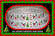 1 INCH HELLO KITTY HO HO HO  CHRISTMAS GROSGRAIN RIBBON - 1 YARD