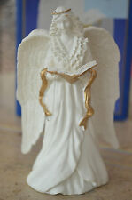 """White Christmas Holiday Angelic Splendor Figurine With Gold Accents 5"""" High"""