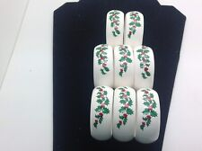 Set of 8 Ceramic Holly Christmas Napkin Holders Red Berries On Holly