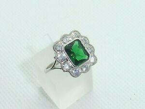 Ladies Handmade Sterling 925 Fine Silver White Sapphire & Emerald Cocktail Ring