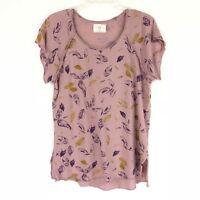 t.la Anthropologie Womens Top Sz S Pink Short Sleeve Floral