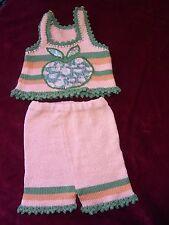 ENSEMBLE ETE BEBE Coton tricot T0-1m VINTAGE 70 SUMMER COTTON BABY'S SUIT s0-1m