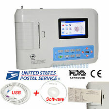 3 Channel 12 lead Portable ECG/EKG Electrocardiogram software Printer US Seller