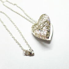 925 Silver Plated Hollow Filigree Flower Heart Photo Locket Pendant Necklace 20""