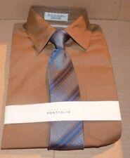 NEW Perry Ellis Dress Shirt Tie Combo Portfolio Youth Boys Brown Blue 10 NEW NWT