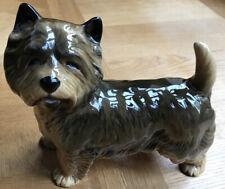 Vintage CooperArt SummerBank Porcelain Glazed Brown Cairn Terrier 7x8 In,Perfect